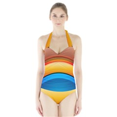 Rainbow Color Halter Swimsuit