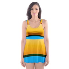 Rainbow Color Skater Dress Swimsuit