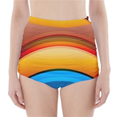 Rainbow Color High-Waisted Bikini Bottoms