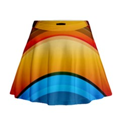 Rainbow Color Mini Flare Skirt