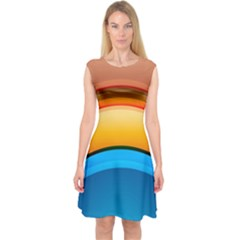 Rainbow Color Capsleeve Midi Dress