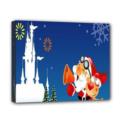 Santa Claus Reindeer Horn Castle Trees Christmas Holiday Canvas 10  x 8