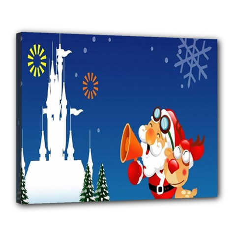 Santa Claus Reindeer Horn Castle Trees Christmas Holiday Canvas 20  x 16
