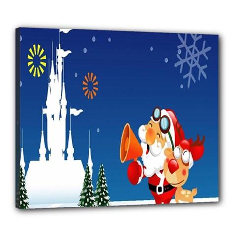 Santa Claus Reindeer Horn Castle Trees Christmas Holiday Canvas 24  x 20