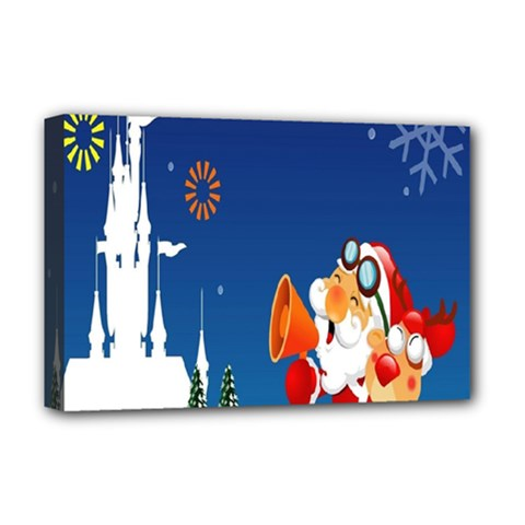 Santa Claus Reindeer Horn Castle Trees Christmas Holiday Deluxe Canvas 18  x 12