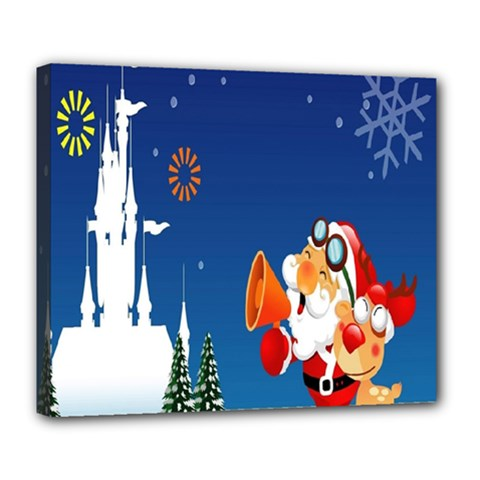 Santa Claus Reindeer Horn Castle Trees Christmas Holiday Deluxe Canvas 24  x 20