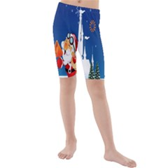 Santa Claus Reindeer Horn Castle Trees Christmas Holiday Kids  Mid Length Swim Shorts