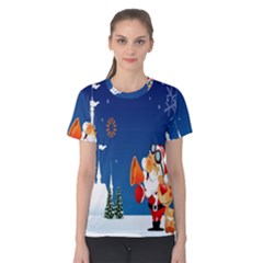 Santa Claus Reindeer Horn Castle Trees Christmas Holiday Women s Cotton Tee