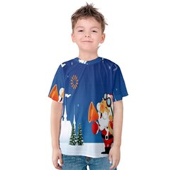 Santa Claus Reindeer Horn Castle Trees Christmas Holiday Kids  Cotton Tee