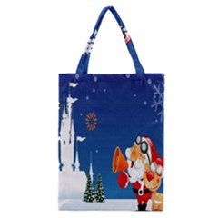 Santa Claus Reindeer Horn Castle Trees Christmas Holiday Classic Tote Bag
