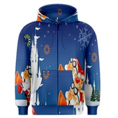 Santa Claus Reindeer Horn Castle Trees Christmas Holiday Men s Zipper Hoodie