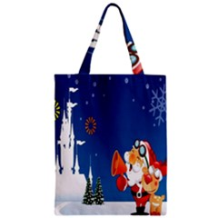 Santa Claus Reindeer Horn Castle Trees Christmas Holiday Zipper Classic Tote Bag
