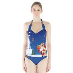 Santa Claus Reindeer Horn Castle Trees Christmas Holiday Halter Swimsuit