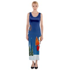 Santa Claus Reindeer Horn Castle Trees Christmas Holiday Fitted Maxi Dress
