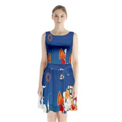 Santa Claus Reindeer Horn Castle Trees Christmas Holiday Sleeveless Chiffon Waist Tie Dress
