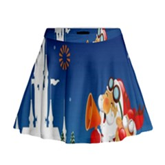 Santa Claus Reindeer Horn Castle Trees Christmas Holiday Mini Flare Skirt