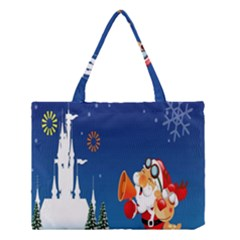 Santa Claus Reindeer Horn Castle Trees Christmas Holiday Medium Tote Bag