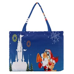 Santa Claus Reindeer Horn Castle Trees Christmas Holiday Medium Zipper Tote Bag