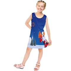 Santa Claus Reindeer Horn Castle Trees Christmas Holiday Kids  Tunic Dress