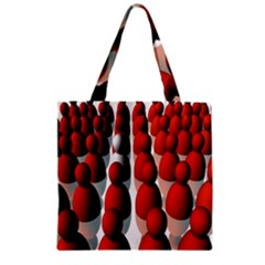 Red White Zipper Grocery Tote Bag