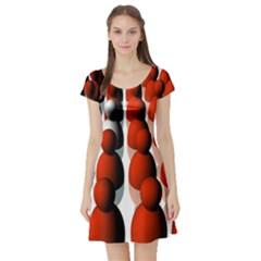 Red White Short Sleeve Skater Dress