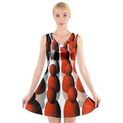 Red White V-Neck Sleeveless Skater Dress