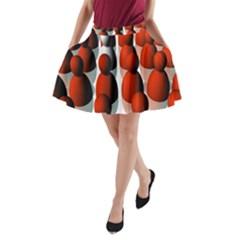 Red White A-Line Pocket Skirt
