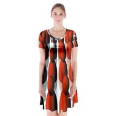 Red White Short Sleeve V Neck Flare Dress