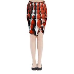 Red White Midi Wrap Pencil Skirt