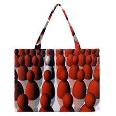 Red White Medium Zipper Tote Bag