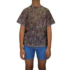 Purple Peacock Feather Wallpaper Kids  Short Sleeve Swimwear