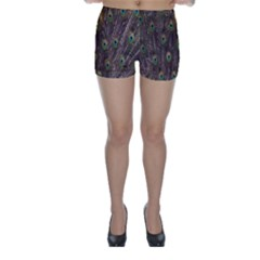 Purple Peacock Feather Wallpaper Skinny Shorts