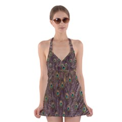 Purple Peacock Feather Wallpaper Halter Swimsuit Dress