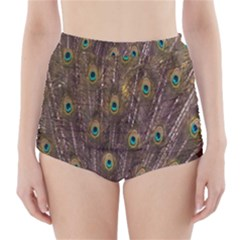 Purple Peacock Feather Wallpaper High-Waisted Bikini Bottoms