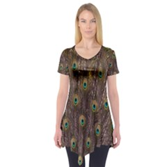 Purple Peacock Feather Wallpaper Short Sleeve Tunic
