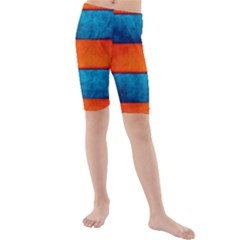 Red Blue Kids  Mid Length Swim Shorts