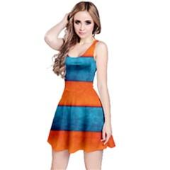 Red Blue Reversible Sleeveless Dress