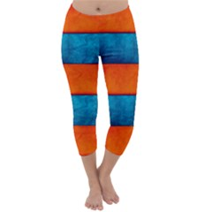Red Blue Capri Winter Leggings