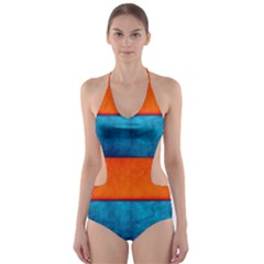 Red Blue Cut-Out One Piece Swimsuit