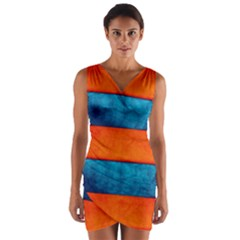 Red Blue Wrap Front Bodycon Dress