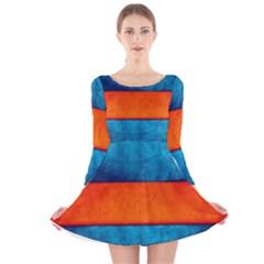 Red Blue Long Sleeve Velvet Skater Dress