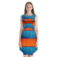 Red Blue Sleeveless Chiffon Dress