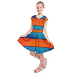 Red Blue Kids  Short Sleeve Dress