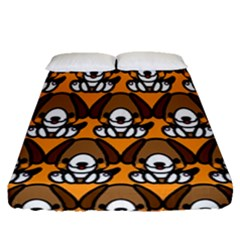 Sitbeagle Dog Orange Fitted Sheet (queen Size)