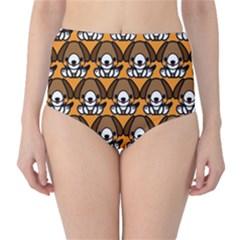 Sitbeagle Dog Orange High-Waist Bikini Bottoms