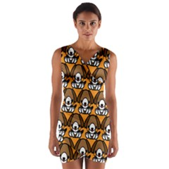 Sitbeagle Dog Orange Wrap Front Bodycon Dress
