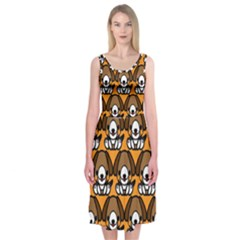 Sitbeagle Dog Orange Midi Sleeveless Dress