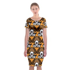 Sitbeagle Dog Orange Classic Short Sleeve Midi Dress