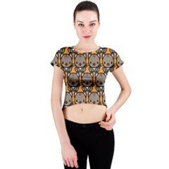 Sitcat Orange Brown Crew Neck Crop Top