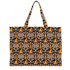 Sitcat Orange Brown Zipper Large Tote Bag